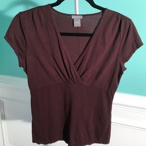 3/$30 Ann Taylor Purple Blouse Surplice neckline